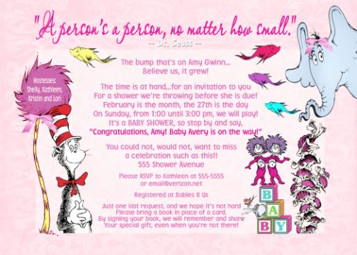 Dr seuss pink girl baby shower invitation or thank you card filmwisefo