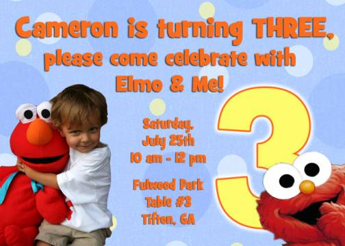 elmo 3rd birthday invitation, Birthday invitations