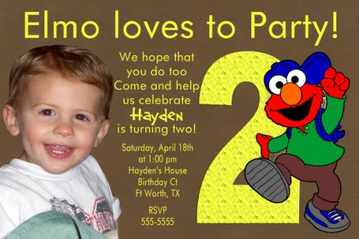 elmo 2nd birthday invitation
