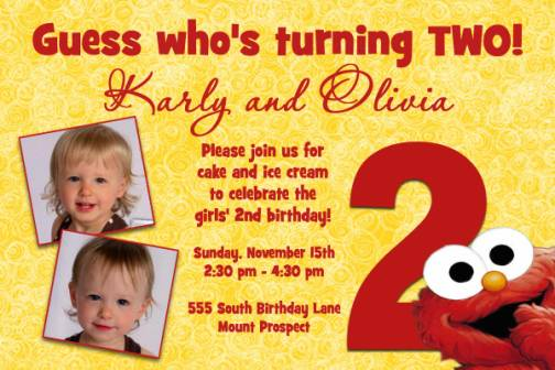Yellow Red Elmo 2nd Birthday Invitation