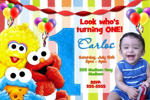 ELMO 07 Sesame Street 1st Birthday Party Invitations