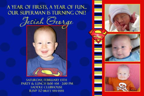 superman photo birthday invitation, Birthday invitations