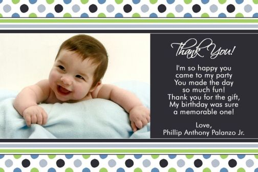 Blue Lime Boy Birthday Thank You Card – 1st Birthday Thank You Cards