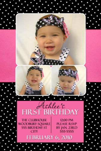 pink and black party invitations