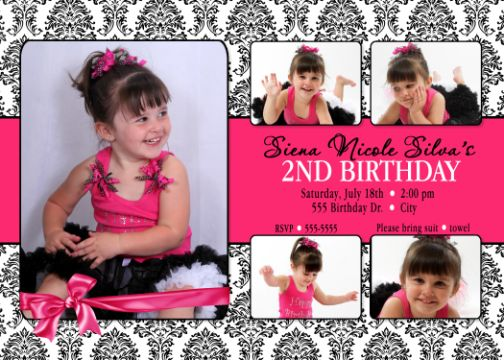 Damask hot pink 2nd Birthday Invitation