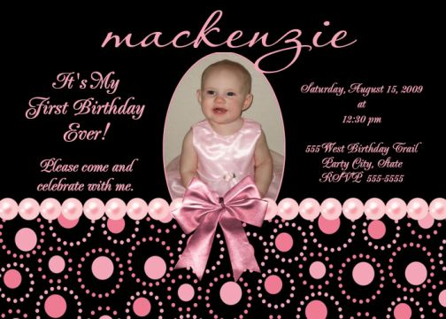 pink black pearl first birthday invitations