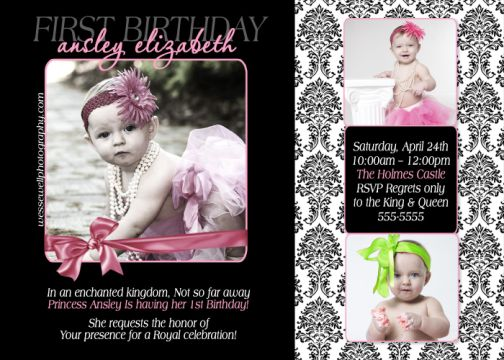 Damask First Birthday Invitation – Damask Birthday Invitations