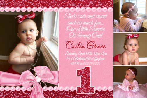Bling Glitter First Birthday Invitation