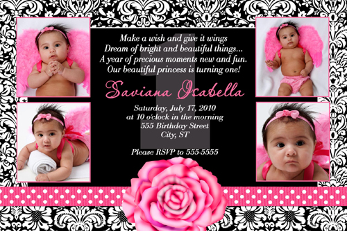 Black White Damask Hot Pink Rose Polka dot Ribbon Birthday Invitation – Damask Birthday Invitations