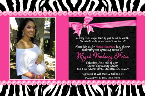 zebra print baby shower invitations single photo, Baby shower invitation