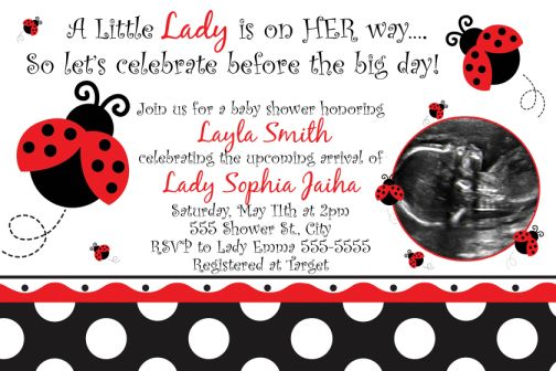 ladybug fancy baby shower invitations, Baby shower invitations