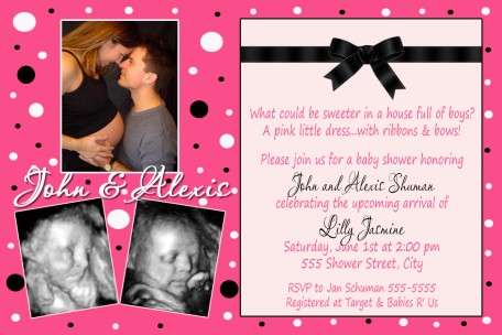 Hot Pink Black Couples Ultrasound Baby Shower Invitation