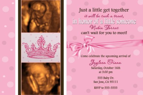 Pink Princess Tiara Crown Baby Shower Invitation Ultrasound photo