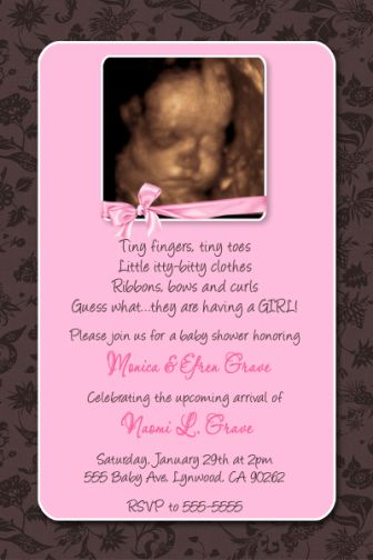 Pink brown floral damask ivy baby shower invitation with bow filmwisefo