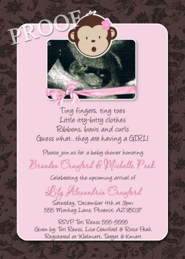 Pink Brown Monkey Baby Girl Shower Invitation