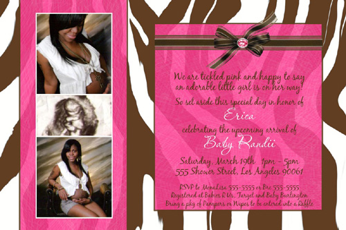 Brown Zebra Print Hot Pink Baby Shower Invitation with Mommy photos