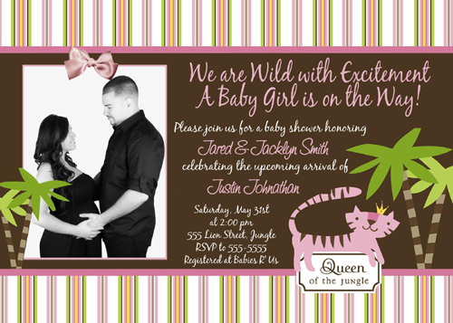 Queen of the Jungle Couples Photo Baby Shower Invitations