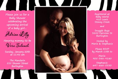 zebra print hot pink couples photo baby shower invitation, Baby shower invitation