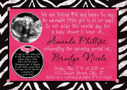 animal print girl baby shower invitations, Baby shower invitations