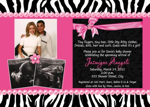 Black white zebra print hot pink multi photo ultrasound baby black white zebra print hot pink multi photo ultrasound baby shower invitations filmwisefo