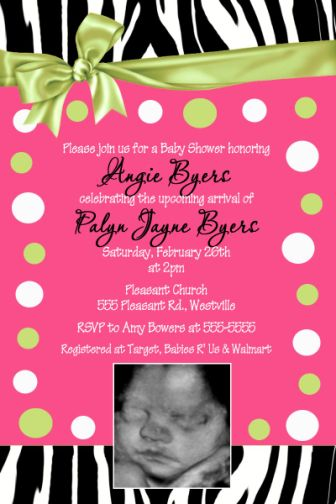 zebra, lime green, hot pink, polka dots baby shower invitation, Baby shower invitation