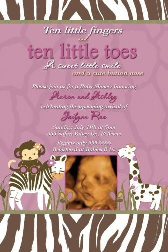 Cocalo Jacana Baby Shower Invitations Zebra Giraffe