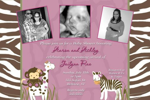 Jacana Safari Baby Shower Invitations Zebra Giraffe