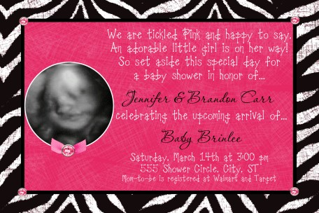 zebra print hot pink ultrasound baby shower invitation, Birthday invitations