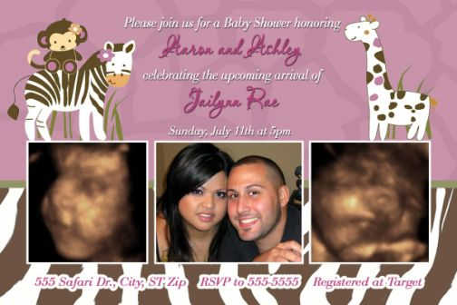 cocalo safari baby shower invitation giraffe zebra print, Baby shower invitation