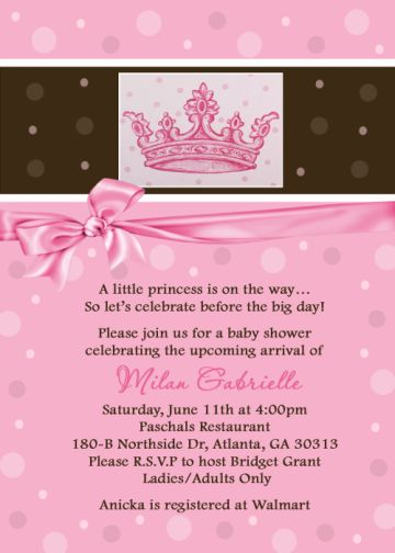 Princess tiara polka dot baby shower invitation filmwisefo Image collections