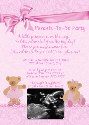 Ballerina Bear Baby Shower Invitations