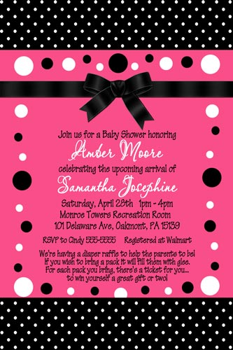 Hot pink black polka dot baby shower invitations no photo hot pink black polka dot baby shower invitations no photo filmwisefo