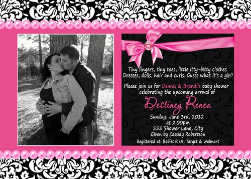 Black hot pink damask baby shower invitations filmwisefo