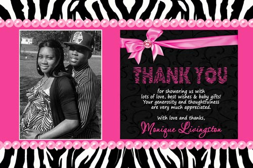 zebra print baby shower thank you card or invitation with couples, Birthday invitations
