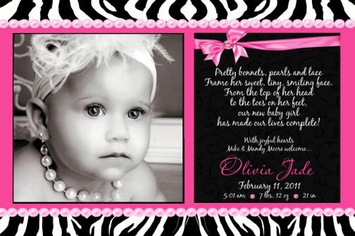 Zebra Hot Pink Pearls Bling Baby Birth Announcement – Sample Birth Announcement Wording