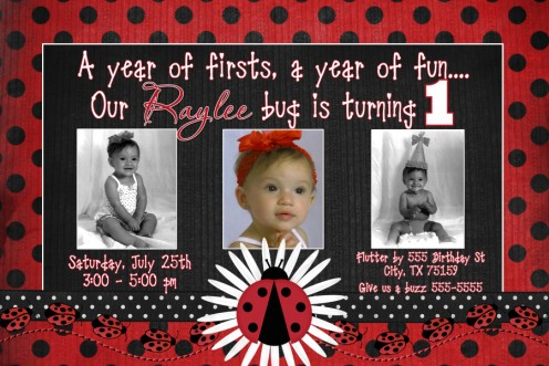 First Birthday Daisy Ribbon Ladybug Birthday Invitation