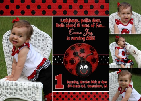 Large Ladybug 1st Birthday Invitation