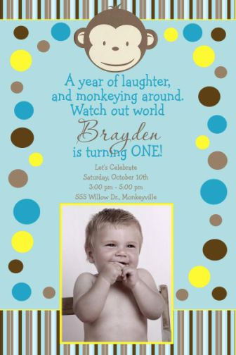 Mod monkey birthday invitation filmwisefo Image collections