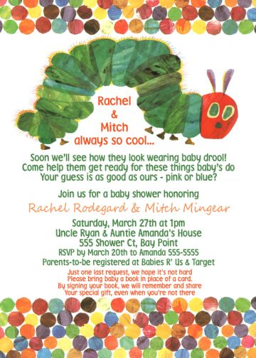 hungry hungry caterpillar baby shower invitation,