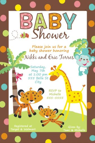 Fisher Price Rainforest Baby Shower Invitations Match The