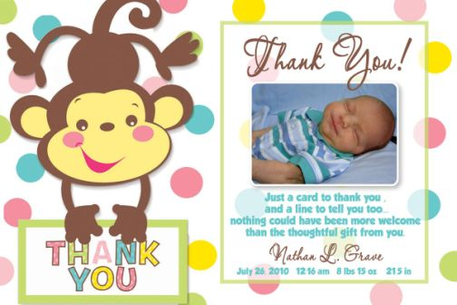 Fisher Price Rainforest Baby Shower Thank You Card Match The Coordinating  Party Supplies.