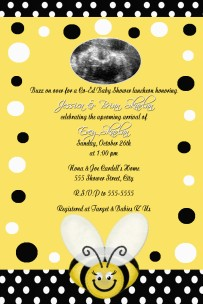 Black White Yellow Bumble Bee Baby Shower Invitation