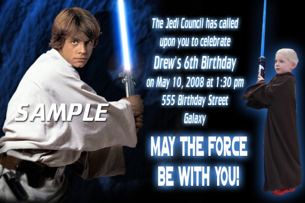 STARWAR 25 Luke Skywalker Star Wars Birthday Invitation Or Thank You Card