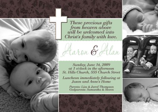Brown mint green twin unisex baptism invitation stopboris