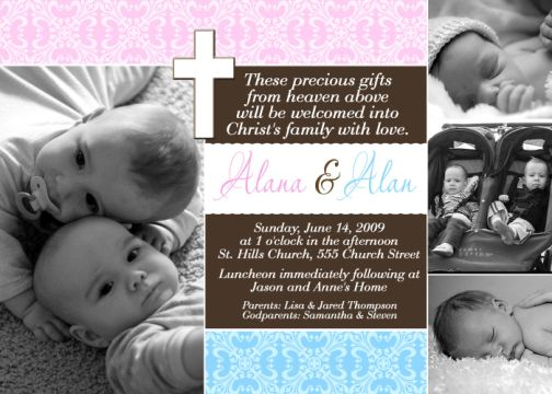 Pink blue twin or combo baptism communion christening invitation stopboris Images
