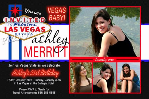 las vegas sign 21st birthday invitation