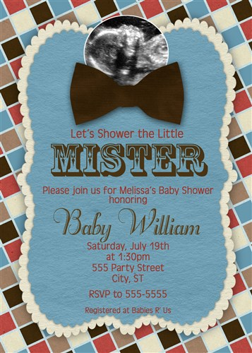 Checkered bow tie baby shower invitations with sonogram photo filmwisefo