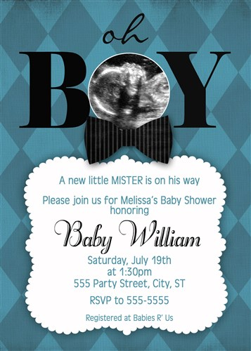 Blue Preppy Bow Tie Bowtie Baby Shower Invitations with ultrasound photo