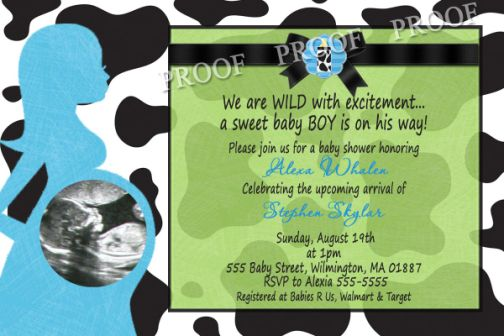 Boys Cow Print Ultrasound Baby Shower Invitations
