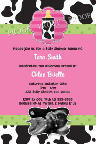 Gshower 128 Baby Cow Print Shower Invitations